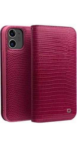 Fourre iPhone 12 mini - Flip Croco Qialino cuir véritable rose