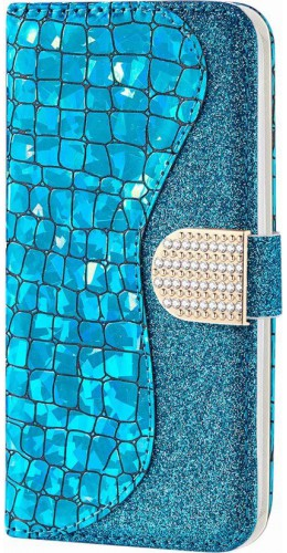 Fourre iPhone 11 - Flip Croco Strass  bleu