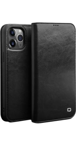 Fourre iPhone 7 / 8 / SE (2020) - Flip Qialino cuir véritable noir
