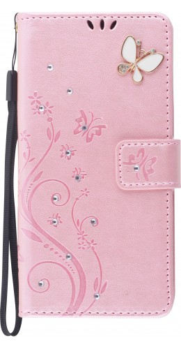 Fourre iPhone 12 / 12 Pro - Flip papillons Strass rose