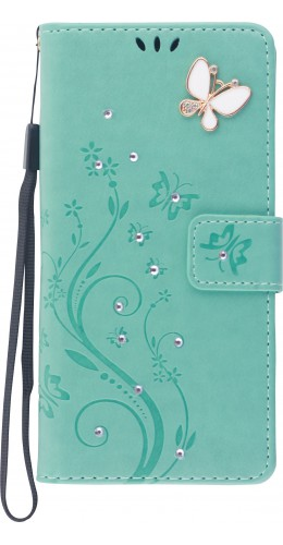 Fourre iPhone 12 / 12 Pro - Flip papillons Strass turquoise