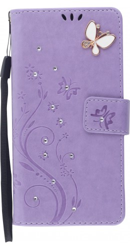 Fourre iPhone 12 / 12 Pro - Flip papillons Strass violet