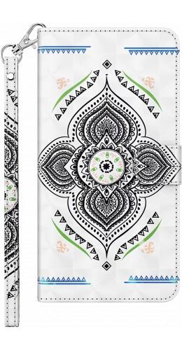 Fourre iPhone 7 / 8 / SE (2020) - 3D Flip mandala blanc