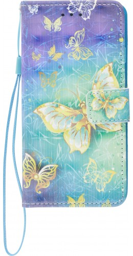 Fourre iPhone 6/6s - Flip 3D papillons dorés