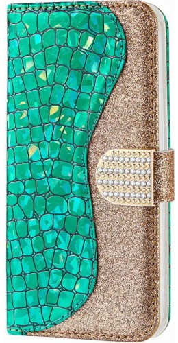 Fourre iPhone 7 / 8 / SE (2020) - Flip Croco Strass  vert