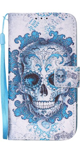 Fourre iPhone 5/5s/SE - Flip Skull bleu clair