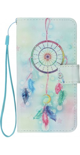 Fourre iPhone X / Xs - Flip 3D dreamcatcher plumes multicolores