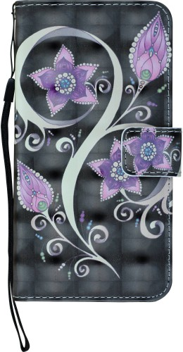 Fourre iPhone X / Xs - Flip 3D fleurs violettes