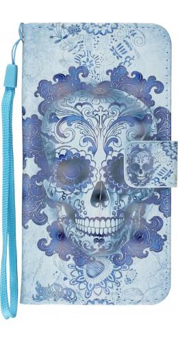 Fourre iPhone X / Xs - Flip 3D Skull bleu clair
