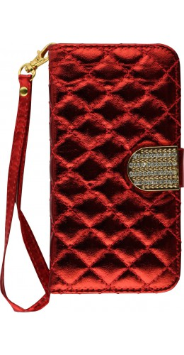 Fourre iPhone X / Xs - Flip Deluxe Bling rouge