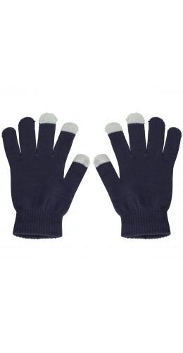 Gants tactiles bleu gris