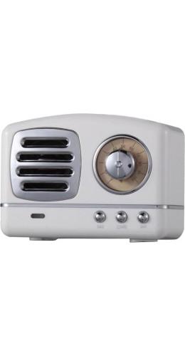 Haut-parleur Vintage sans fil Bluetooth Retro 60s Look Radio/AUX/SD - Blanc
