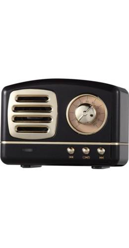 Haut-parleur Vintage sans fil Bluetooth Retro 60s Look Radio/AUX/SD - Noir