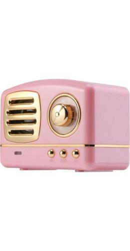 Haut-parleur Vintage sans fil Bluetooth Retro 60s Look Radio/AUX/SD - Rose