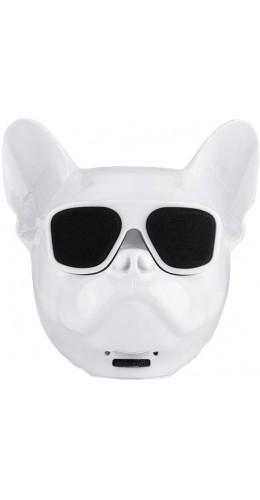 Haut-parleur Bluetooth tête Bulldog blanc
