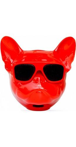 Haut-parleur Bluetooth tête Bulldog rouge