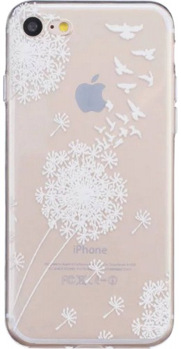Housse iPhone 7 Plus / 8 Plus - Flower Transparent Blanc