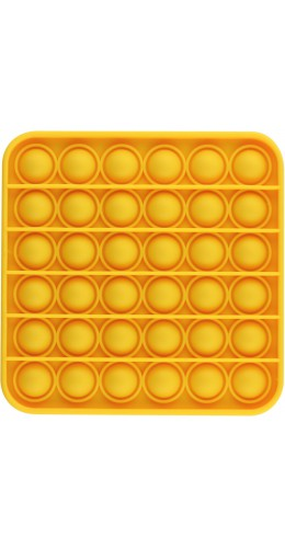 Jeu en silicone éclate-bulles pop anti-stress pour enfant et adulte jaune