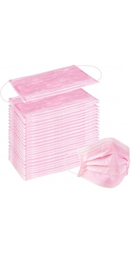 Lot de 50 masques chirurgicaux roses