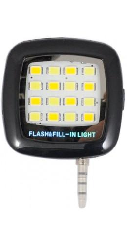 Mini Flash 16 LED portable Jack 3.5mm lumière continue pour selfie noir