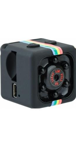 Caméra cube ultra compacte - Enregistrement vidéo Full HD 1080p 12MP, support inclus