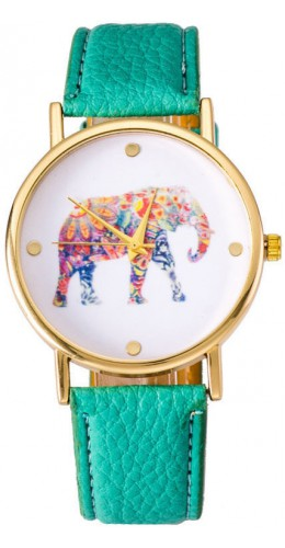 Montre elephant vert menthe