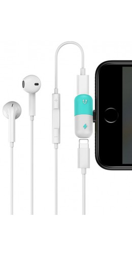 Pilule adaptateur double Lightning (audio/charge) turquoise