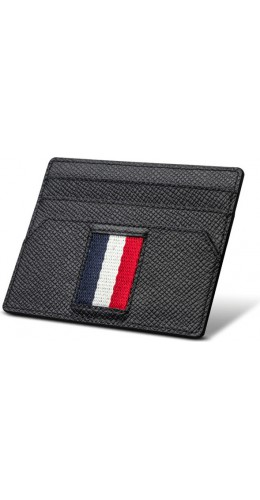 Porte-cartes Qialino en cuir noir