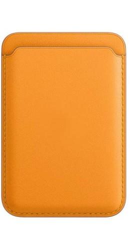 Porte-cartes en cuir orange compatible MagSafe