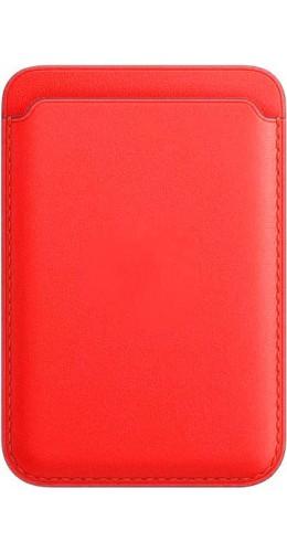 Porte-cartes en cuir rouge compatible MagSafe