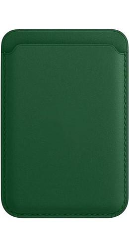 Porte-cartes en cuir vert compatible MagSafe