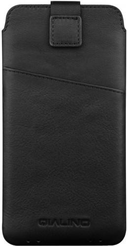 QIALINO pochette pour smartphone 4.7 pouces avec fente pour carte de crédit - Noir