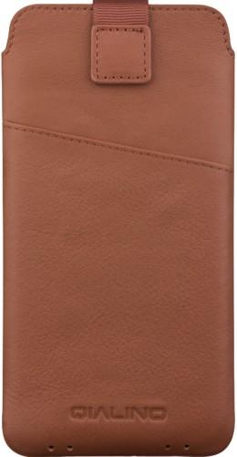 QIALINO pochette pour smartphone 6.1 pouces avec fente pour carte de crédit - Brun