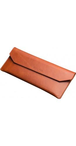 Qialino enveloppe cuir véritable brun