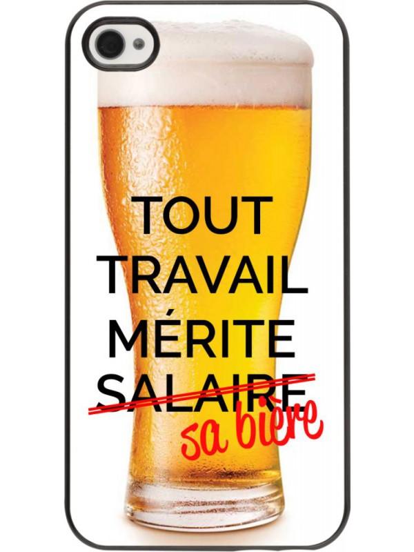 Coque iPhone 4/4s - Tout travail mérite sa bière