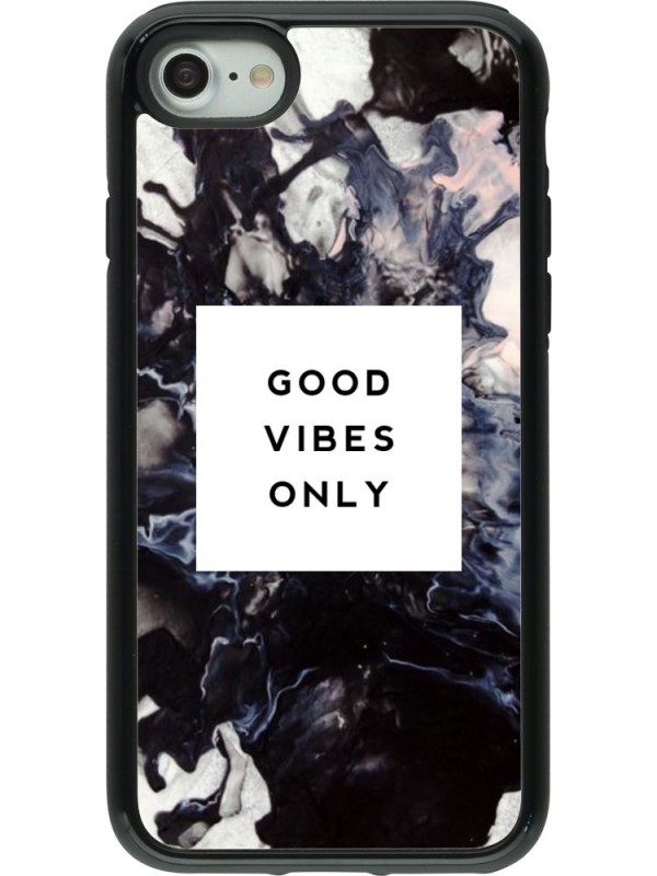 Coque iPhone 7 / 8 - Hybrid Armor noir Marble Good Vibes Only