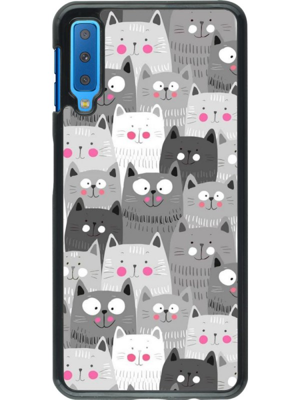 Coque Samsung Galaxy A7 - Chats gris troupeau