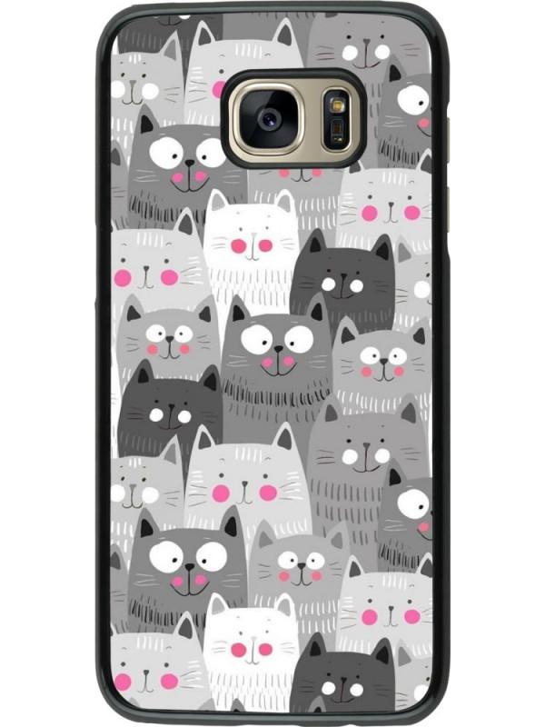 Coque Samsung Galaxy S7 edge - Chats gris troupeau