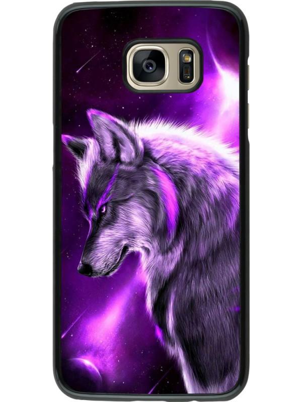 Coque Samsung Galaxy S7 edge - Purple Sky Wolf