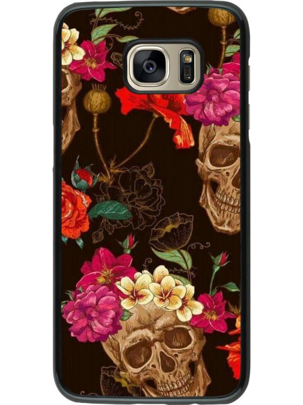 Coque Samsung Galaxy S7 edge - Skulls and flowers