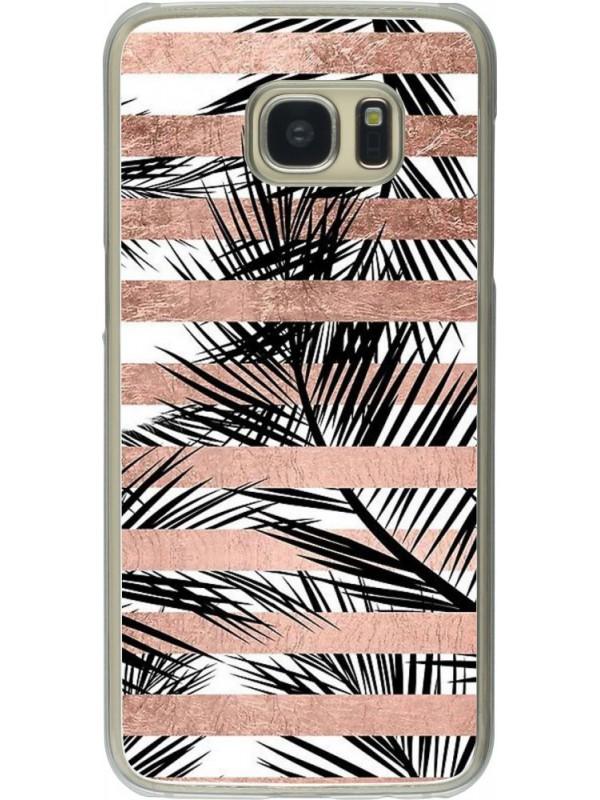 h lle galaxy s7 edge kunststoff transparent palm trees. Black Bedroom Furniture Sets. Home Design Ideas