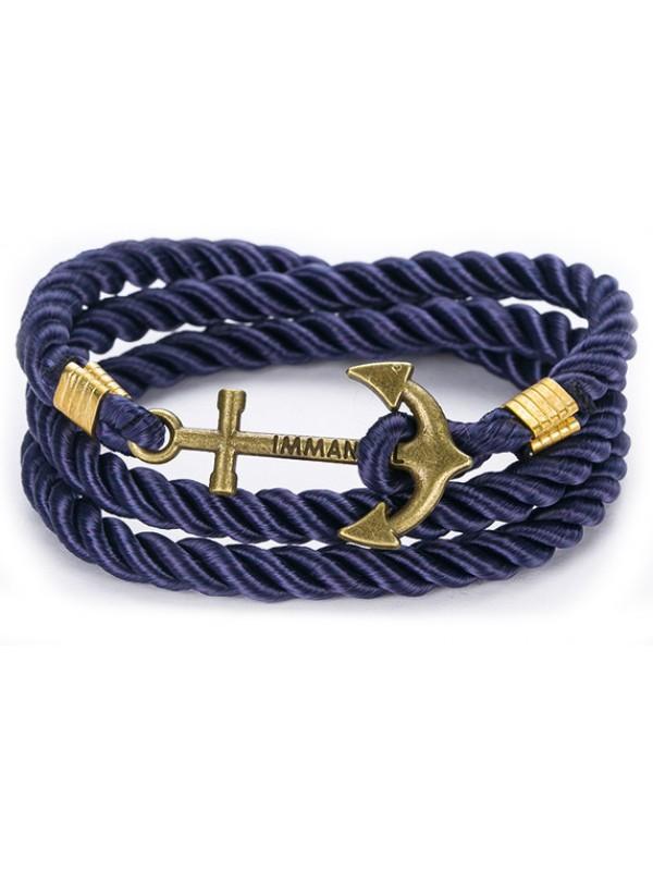Bracelet ancre corde antique bleu