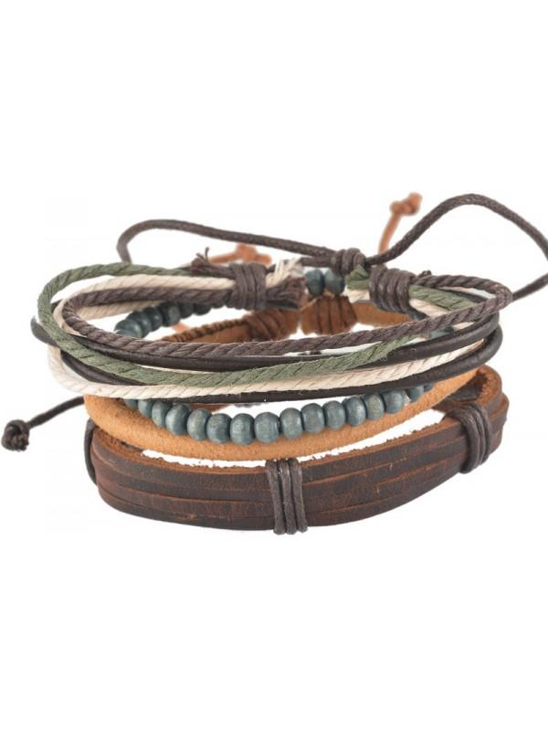 Bracelet cuir corde perle brun