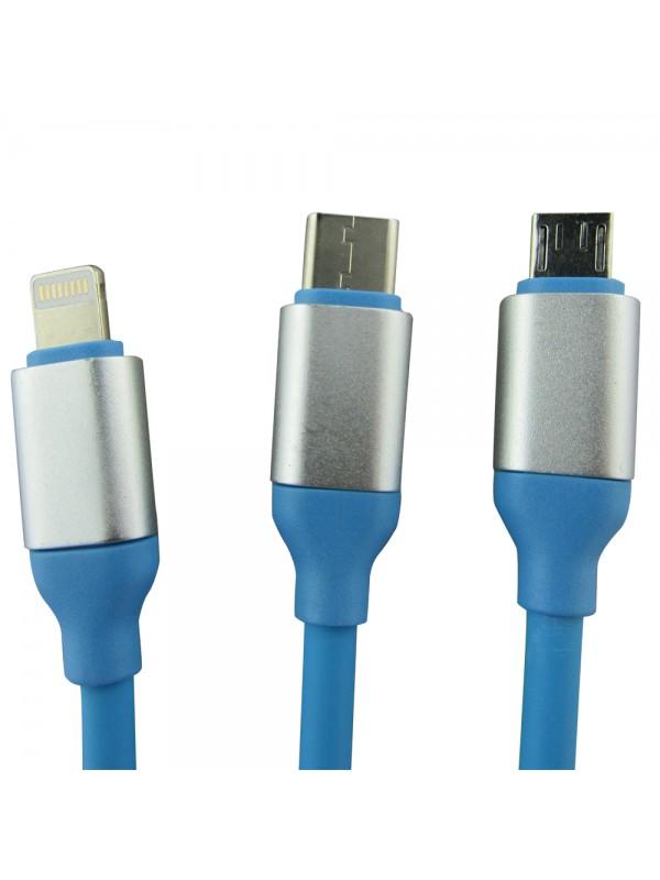Câble 3 en 1 Lightning/Micro USB/Type-C bleu
