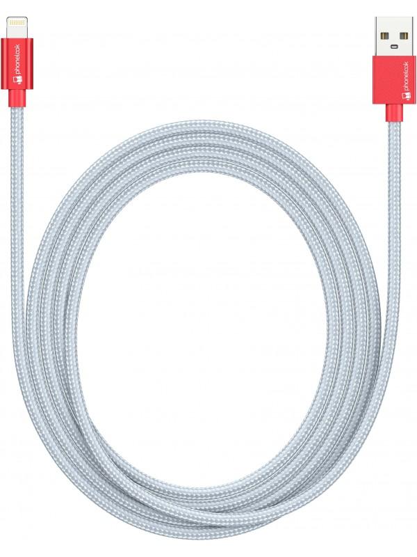 Câble Lightning (1.5 m) iPhone vers USB - Nylon argent PhoneLook