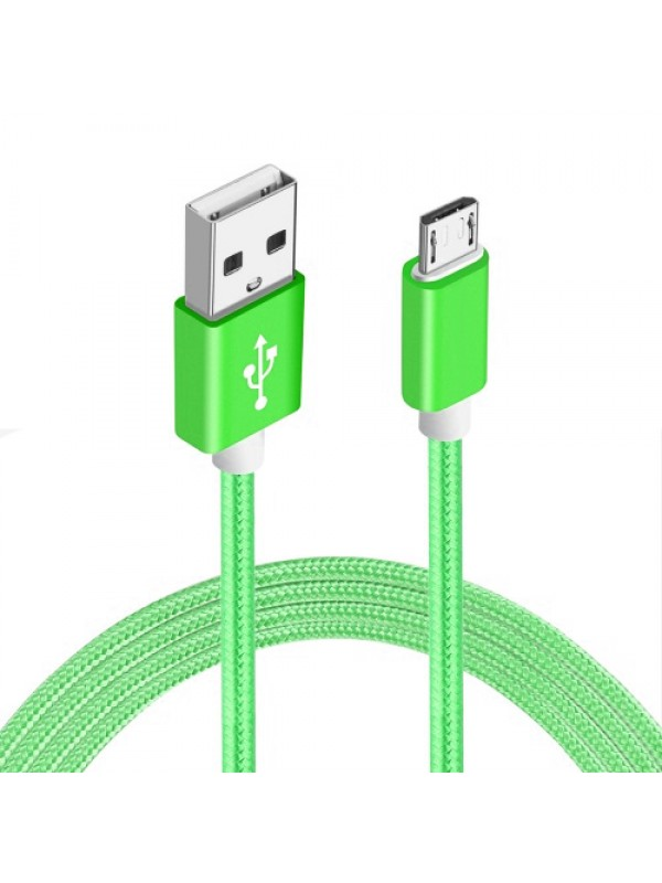 Câble Micro USB Nylon metal vert