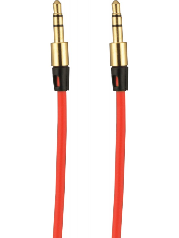Câble auxiliaire audio stéréo 3.5 mm mâle-mâle 1 mètre rouge