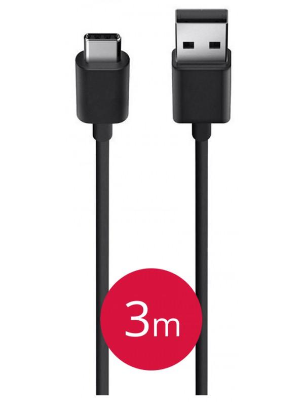 Long câble de recharge (3 mètres) USB Type-C noir